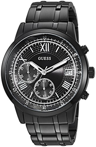 Guess Mens Black Ion Plated - GUESS Men's Satinless Steel Casual Bracelet Watch, Color: Black (Model: U1001G3)