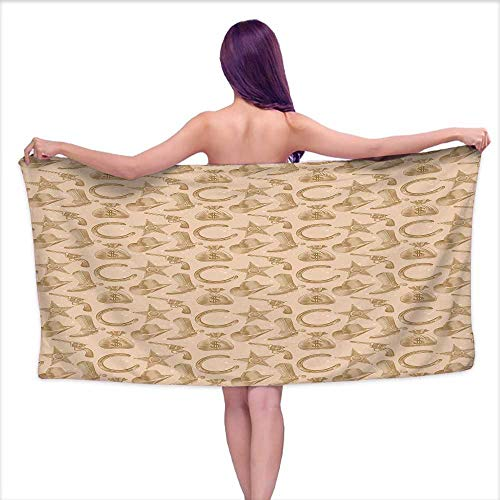 Western Engraving (Bensonsve Sauna Towel Western,Engraving Style Star Boot and Money Revolver Line Pattern Worn Out Dotted Backdrop,Tan Brown,W31 xL63 for bathrooms, Beaches, Parties)