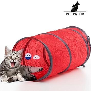 Túnel y juguetes para gatos. Tu gato disfrutará gracias a este accesorio para mascotas elegante y práctico con el que no parará de jugar: Amazon.es: ...