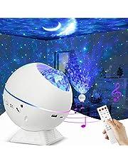 Projector Licht, LED Ster Licht Projector Slaapkamer Nachtlampje Kleur Veranderende Lamp Roterende Romantische Star Wave Projector Afstandsbediening Bluetooth USB Muziek Speaker 10 Kleur Mode Timer Home Podium