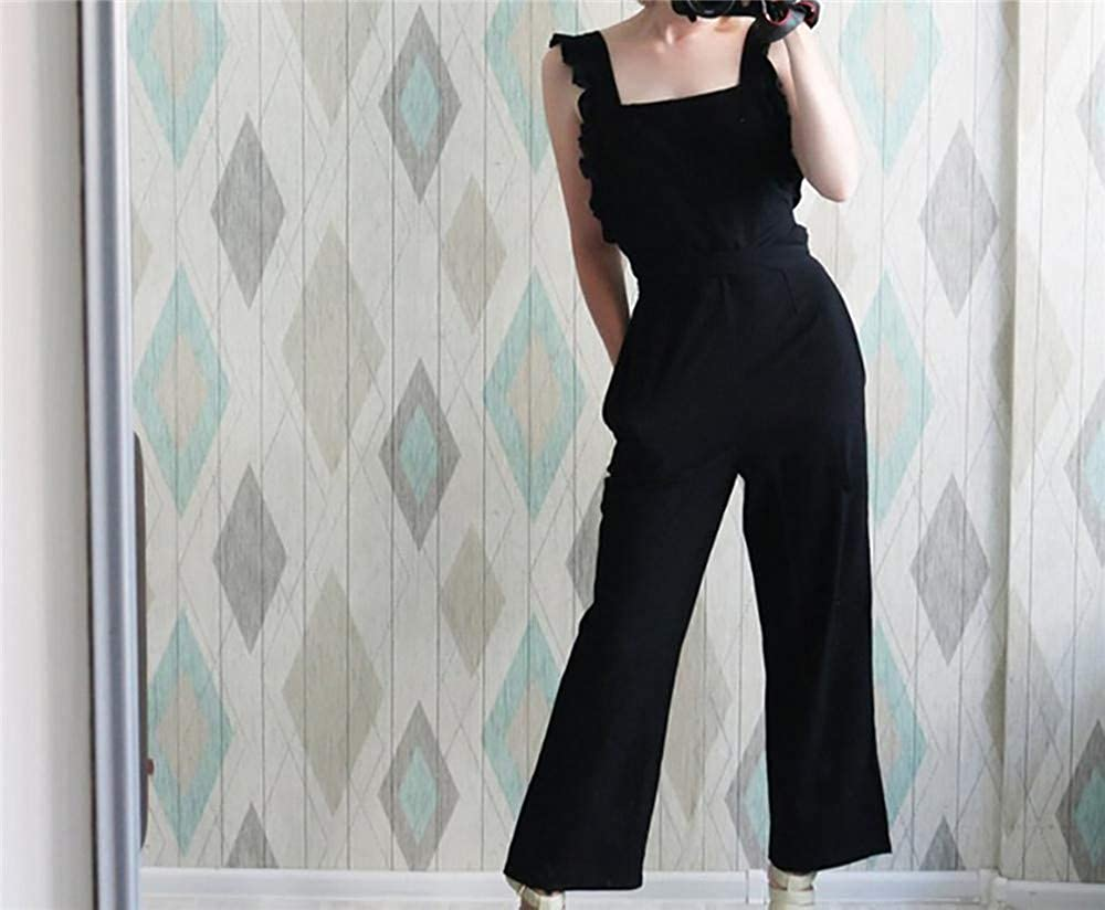 EU-5LDK Summer Casual Rompers Womens Jumpsuit Solid Ruffle Slim Overalls Bandage Backless Long Pants Women Jumpsuit