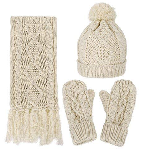 Women's Winter Warm 3PC Beige Cable Knit Gloves Scarf Beanie Hat Set by Livingston
