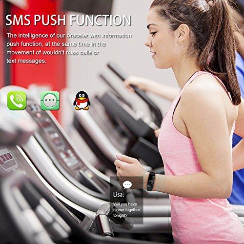 URBST Fitness Tracker,Wireless Smart Activity Trackers Wristband Blood Pressure Heart Rate Monitor Sport Bracelet Pedometer Watch-BLACK
