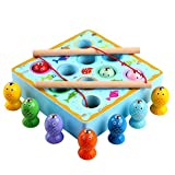Beperfectly Puzzle Inserting Jigsaw Wooden Toddler Toys Fishing Game with Magnetic Toy Fishing Pole...