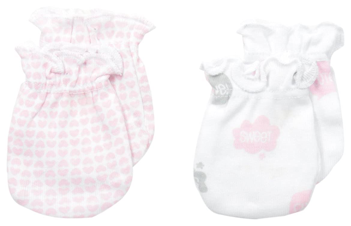 Petit Lem Baby-Girls Newborn Bow Heart 2 Pack Mittens A Bow Heart One Size 85R51X899