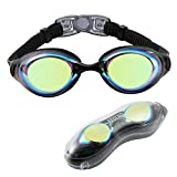 Aegend Swim Goggles, Swimming Goggles of Flat Lense for Men Women Adult Youth Kids Children, Anti-Fog UV Protection Leak-Proof Triathlon Swim Goggles Mirrored/Clear with Free Protection Case