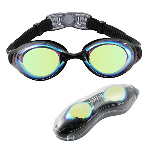 Aegend Swim Goggles, Swimming Goggles of Flat Lens for Men Women Adult Youth Kids Children, Anti-Fog UV Protection Leak-Proof Triathlon Swim Goggles Mirrored/Clear with Free Protection Case