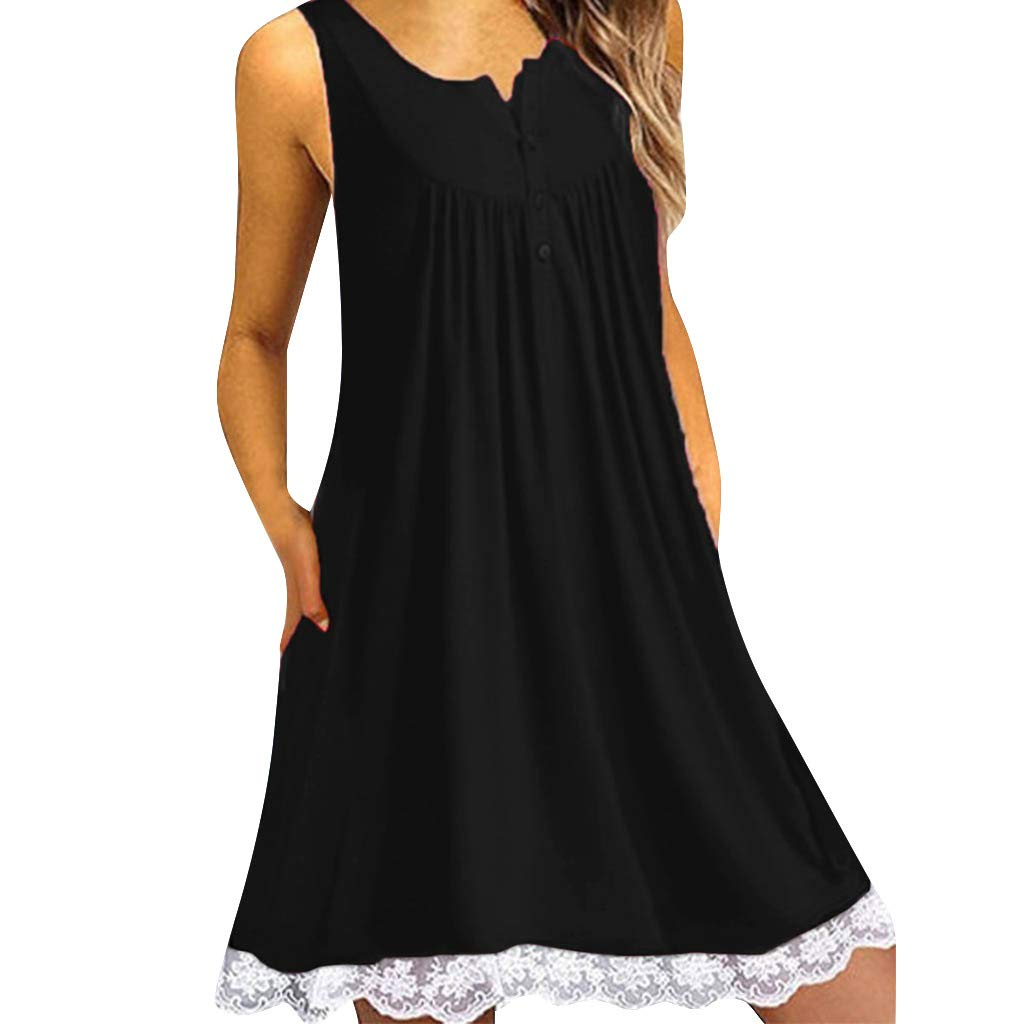 TWGONE Tunic Dresses For Women To Wear With Leggings Plus Size Lace Button Sleeveless Above Knee Loose Dress (Medium,Black)