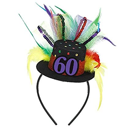 Amscan The Party Continuous 60th Birthday Fascinator Black Multicolored 12quot X