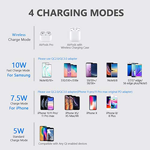 Yootech Wireless Charger,[2 Pack] Qi-Certified 10W Max Wireless Charging Pad Stand Bundle,Compatible with iPhone 12/12 Pro/SE 2020/11 Pro Max,Galaxy S21/S20/Note 10, AirPods Pro(No AC Adapter)