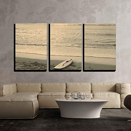 wall26 - 3 Piece Canvas Wall Art - Beach and Surf Board - Mallorca - Modern Home Decor Stretched and Framed Ready to Hang - 24