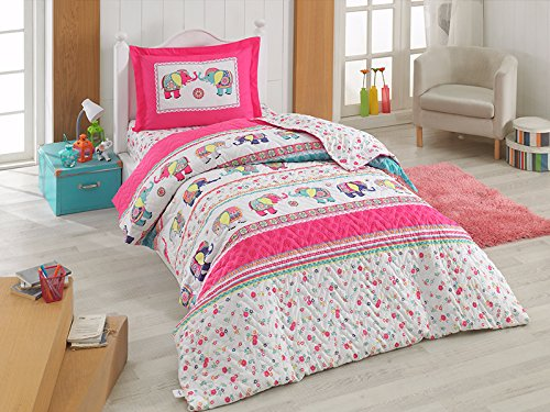 Charming Elephant (Bekata Elephant Bedding Charming Design, 100% Cotton Twin/Twin-XL Size Multifunctional Four Season Girls Floral Bedding Set, Quilted Bedspread/Duvet Cover Set, 3 PCS, Pink&White)