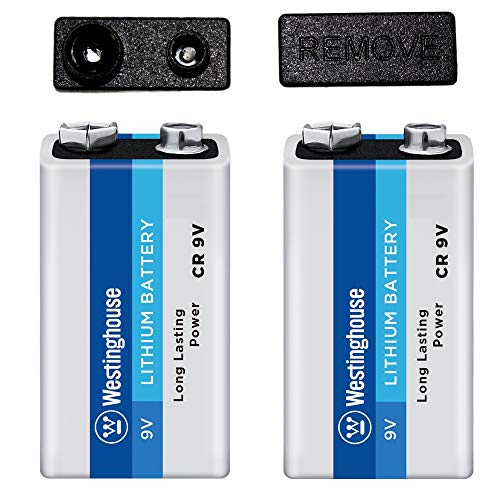 Westinghouse 9 Volt Lithium Battery for High Drain and High Pulse Electronics with Safety Cap Protectors (2 count)