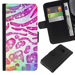 EJOY---La carpeta del tirón la caja de cuero de alta calidad de la PU Caso protector / HTC One M9 / --Patrón de piel animal Estrellas Rosa