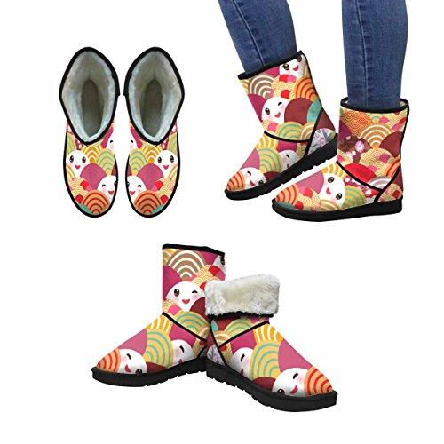 Interestprint Mujeres Snow Botas Año Nuevo Patrón En Japón Unique Designed Comfort Winter Botas Multi 1