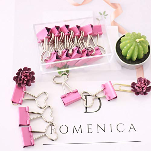 OUTU 16 Pcs/Box Small Size 19mm Printed Metal Binder Clips Paper Clip Clamp Office School Binding Supplies(P0047) (Dark Pink Heart) ()
