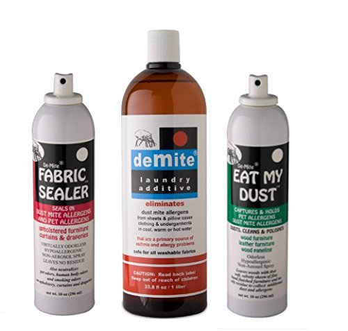 DeMite 3 Pack Bundle: Eat My Dust 10oz, Fabric Sealer 10oz, Laundry Additive 1L - Eliminate Allergens & Neutralize Odors from Wood Furniture, Sofa, Sheets, Pillow Cases, Blankets, Clothing & Curtains