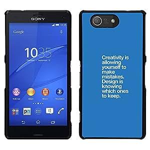 Azul Creatividad Errores Diseño Punto- Metal de aluminio y de plástico duro Caja del teléfono - Negro - Sony Xperia Z3 Compact / Z3 Mini (Not Z3)