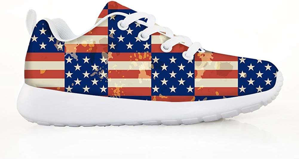 HMML Boys Girls Fashion Sneakers Ultra Breathable Mesh Running Walking Sport Shoes American Flag Colors Retro Red White Stripes Blue Stars Print Casual Shoes Easy Walk Run