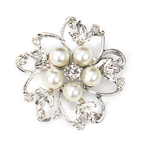 Elegant Rhinestone Crystal Wedding Bridal Faux Pearl Flower Brooch Pin Jewelry