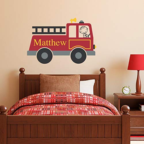 Firetruck Wall Decal Personalized - Boy & Name Wall Decal - Fire Truck Wall Sticker