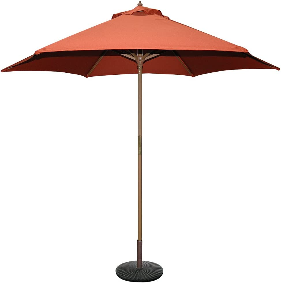 Tropishade 9 ft Wood Market Umbrella with Rust Color Polyester Cover