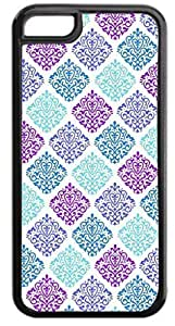 02-Colorful Damasks-Case for the APPLE IPHONE 5c ONLY-Hard Black Plastic Outer Case