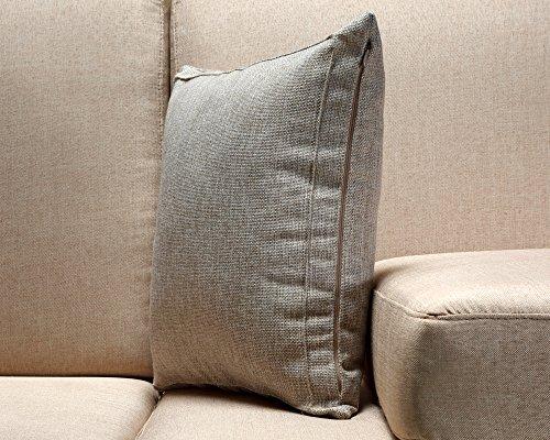 Jepeak Throw Pillow Cover Home Decorative Cotton Linen Blend Pillowcase Euro Sham Square Solid ...