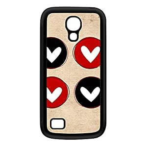 Cute Little Hearts on Beige Background Black Silicon Rubber Case for Galaxy S4 Mini by UltraCases + FREE Crystal Clear Screen Protector
