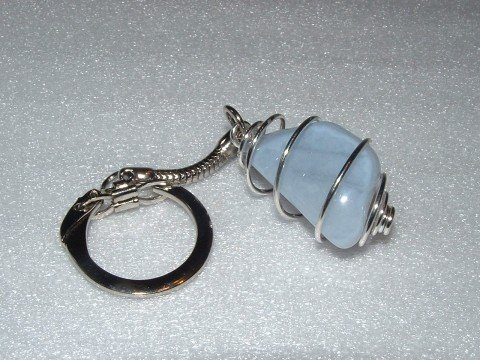 Blue Lace Agate Spiral Gemstone Crystal Cage Keyring Geofossils