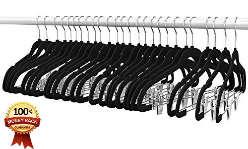 Premium Quality Velvet Clip Hangers (Set of 26) Ultra Thin No Slip Hangers Great for Skirts, Dresses, Suits, Shirts & More - Swivel Hooks, Stronger Than Standard Hangers - Space Saving Hangers - Black