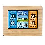 Fan-Ling Color Screen Weather Forecast Clock, Colorful Digital Weather Station Weather Forecast LCD Display Alarm Clock,Plastic Material Multifunctional kit, Practical (Yellow)