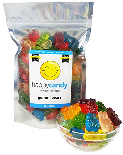 Happy Candy Gummi Bears - 12 Assorted Flavors - Gluten Free, Fat Free, Dairy Free - Resealable Pouch (1 Pound) Free Candy