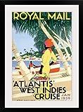 "greatBIGcanvas Royal Mail, Atlantis, West Indies Cruise, Póster vintage Lámina fotográfica con marco negro, 20 ""x 30"""