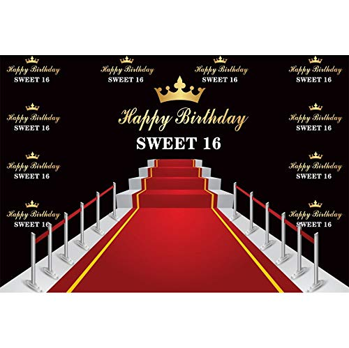 DORCEV 10x7ft Happy Birthday Sweet 16th Backdrop Red Carpet for Sixteen Years Old Birthday Party Background Princess Prince Yellow Crown Red Carpet 16th Party Banner Kids Adult Photo Studio Props