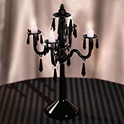 TCDesignerProducts Plastic Chandelier Centerpiece, 10.8 Inches High, 4 Candelabra Arms, 4 Battery Operated LED Candles (Black)