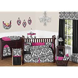 Sweet Jojo Designs Designer Hot Pink, Black and White Isabella Baby Girls Bedding 9 pc Crib Set