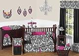 Sweet Jojo Designs Designer Hot Pink, Black and White Isabella Baby Girls Bedding 9 pc Crib Set