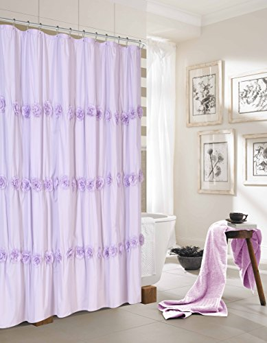 Dainty Home Rosette Fabric Shower Curtain with 3D Flowers, Purple