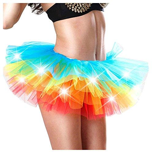 X Danse 50 Imixcity pour Arc Couches Femme Anne led Jupe Dguisement Cosplay Ballet Soire Tulle Pliss Bal Scne Elastique ciel Mini 6 en Courte rqHrEwA