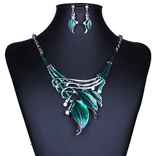 Sunne Classic Fashion Leaves Resin Pendant Crystal Charms Statement Necklaces& Earrings Set (Homemade Dark Angel Costume)