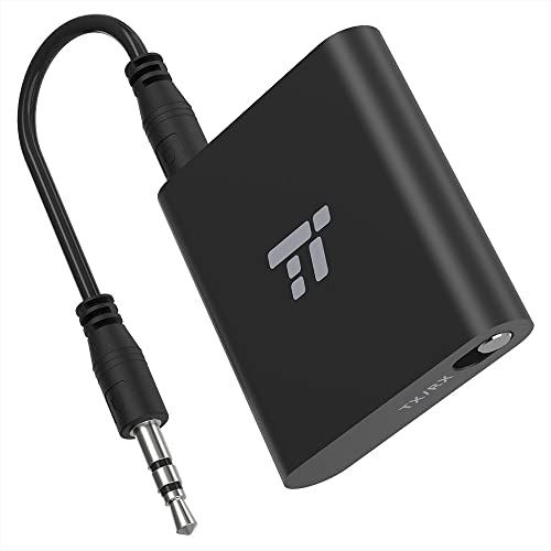 TaoTronics 65ft AptX Low Latency Bluetooth Transmitter Receiver 3.5mm AUX Wireless Audio Adapter for TV Car Stereo System Hands-Free Calling in RX Mode, Pair 2 Bluetooth Headphones