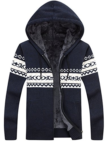 Lentta Men's Casual Slim Fit Full Zip up Sherpa Lined Hoodie Cardigan Sweaters (Medium, Dark (Fleece Lined Hooded Cardigan)