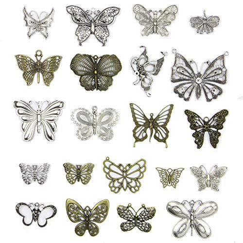 (250 Gram (Approx 21pcs) DIY Metal Butterfly Charms Pendant for Crafting,Bracelet Necklace Jewelry Making Accessories )