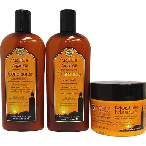 Agadir Argan Oil Daily Moisturizing Shampoo 12 oz + Conditioner 12 oz + Masque 8 oz - Combo Set IV - Hydra Intense Hydrating Gel Mask