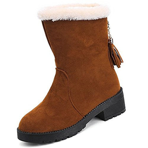 Brown US6   EU36   UK4   CN36 Brown US6   EU36   UK4   CN36 HSXZ Women's shoes Nubuck Leather PU Suede Winter Fall Comfort Fashion Boots Boots Null Chunky Heel Round Toe Mid-Calf Boots for Casual Red
