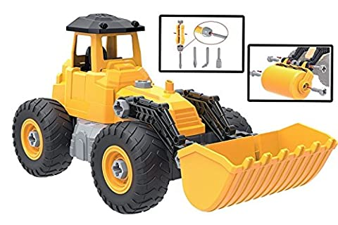 Kidwerkz Toy Truck Bulldozer, STEM Learning (55 pieces), Construction Vehicle, Take Apart Tools, Engineering Building Play Set For Boys Girls Toddlers, Best Gift Kids Ages 3yr – 6yr, 3 Years and (Playdoh People)