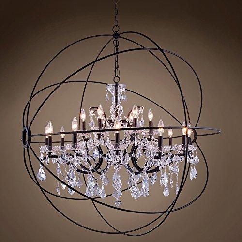 """Joshua Marshal 701513-001 - FoucaultS Orb Design 18 Lt 43.5"""" Deep Iron Pendant With Clear European Crystal"""