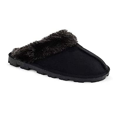 8893da32cfd39 Slippers Womens Faux Suede Furry Winter Fur Lined Slip On Mules Ladies Mule  Luxury: Amazon.co.uk: Shoes & Bags
