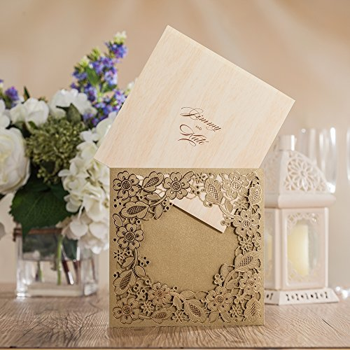 Wishmade 100X Printable Laser Cut Wedding Invitations Cards with Hollow Floral Card Stock For Engagement Birthday Party Baby Shower Bridal Shower Events CW5279 by Wishmade (Image #1)